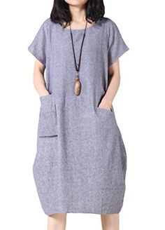 da6c7f70c4a0 Mordenmiss Women s Loose Fit Summer Dress Cotton Linen Short Sleeve Clothing  XL Blue Gray  This dress is suitable for the summer
