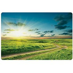 Landscape Pet Mats for Food and Water by Lunarable, Idyllic Summer Landscape with Dramatic Rural Roadway Through Greenery and Blue Sky, Rectangle Non-Slip Rubber Mat for Dogs and Cats, Green Blue ** For more information, visit image link. (This is an affiliate link) #DogFeedingWateringSupplies