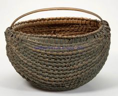 FINE VIRGINIA PAINTED RIB-TYPE WOVEN-SPLINTBASKET, white oak, kidney form with converging ribs, double-wrapped rim, and low arched handle. ~♥~