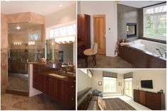 Master suite with whirlpool tub. Glass tile, fireplace, steam shower.