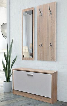 c7247587eae Hallway Furniture Set Shoe Storage Bench Coat Rack Mirror Stand Oak &  White Wood #