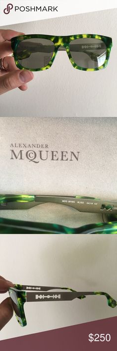 Alexander McQueen Sunglasses (Green Tortoise) RARE I'm a selling a pair of Alexander McQueen Unisex Sunglasses for $250 OBO. These are a super RARE color way that's Lime Green Tortoiseshell. Wore them a couple times for photo shoots and are in EXCELLENT condition. Open to offers. Alexander McQueen Accessories Sunglasses