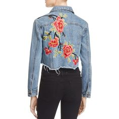 Sunset & Spring Cropped Embroidered Denim Jacket - 100% Exclusive ($82) ❤ liked on Polyvore featuring outerwear, jackets, denim, blue jean jacket, denim jacket, blue cropped jacket, embroidery jackets and jean jacket