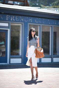 slit skirt with checkered top