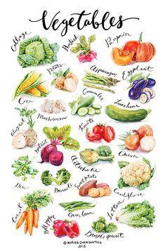 Просмотреть иллюстрацию Овощи из сообщества русскоязычных художников автора Марина Дормидонтова в стилях: 2D, нарисованная техниками: Акварель.
