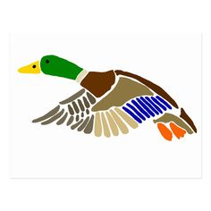 Shop Artistic Mallard Duck in Flight Art Postcard created by inspirationrocks. Goose Drawing, Duck Drawing, Duck Tattoos, Duck Art, Mallard, Cute Baby Animals, Landscape Art, Painted Rocks, Silhouettes