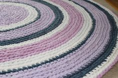 Lilac, Gray and White Round Rag Rug Recycled T Shirt Yarn Handmade 5 Feet Diameter Made to Order on Etsy, $200.00