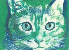 Cat owner gift, Cat wall art,Green, Ultramarine Blue pastel Painting, Aquamarine Cat Print ,feline ,tabby cat gift idea… #dogs #etsy #art