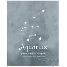 Aquarius Zodiac Constellation Wall Art Printable 8x10 Instant Download... ❤ liked on Polyvore featuring home, home decor, wall art, star home decor, watercolor wall art, watercolor poster, zodiac wall art and zodiac star signs