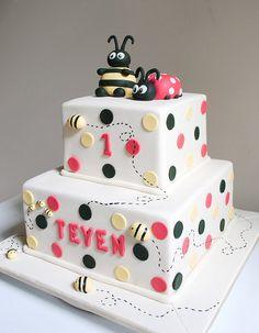 Ladybug and Bee Birthday cake