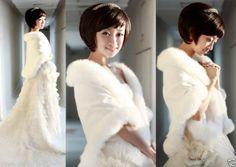 2014-New-Wedding-Dress-Bride-shawl-Ivory-Faux-Fur-Stole-Wrap-Shrug-Bolero-Coat
