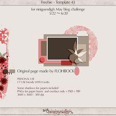 Quality DigiScrap Freebies: Template freebie from Ninigoesdigi Mini Scrapbook Albums, Scrapbook Cards, Mini Albums, Free Digital Scrapbooking, Scrapbook Templates, Card Sketches, Journal Cards, Overlays, Challenges