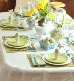Here are some great ideas I found and wanted to share with you. I'm sure you can find something here to incorporate into your Easter table decorating this year...