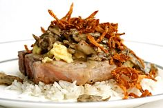 Pork Chops Loco Moco - Cooks Illustrated adapted the recipe from Sam Choy's,