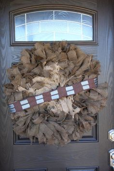 nice Star Wars inspired Chewbacca, character wreath, burlap wreath, home decor, party...