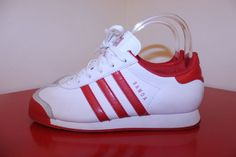 Adidas Shoes 5 White Red Stripe Samoa G21250 Leather Athletic Tennis Shoes  #Adidas #Athletic