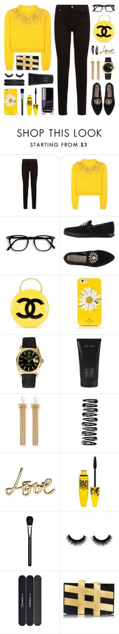 """""""Sunshine on a Cloudy Day"""" by lgb321 ❤ liked on Polyvore featuring 7 For All Mankind, Miu Miu, Chanel, Kate Spade, Rolex, Lalique, Chloé, Lanvin, Maybelline and MAC Cosmetics"""