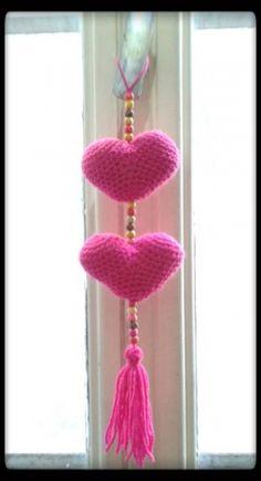 Colgante De Corazones - Crochet - Tejidos de Punto - 800171