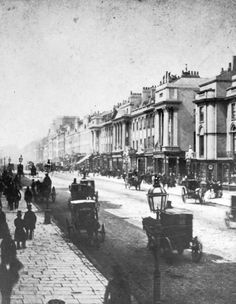This is a factual photograph of regent street in London during the where id like a few battles in the game to take place where cover could be used by soldiers behind things left behind like horse carts and market stalls. Victorian Street, Victorian Life, Victorian London, Vintage London, Victorian Ladies, Regent Street, London Street, London City, London History