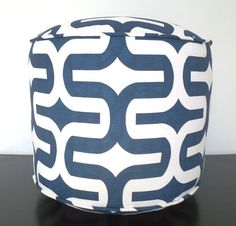 Blue Round Pouf Ottoman 18 Navy And White Floor For Nursery Room Decor