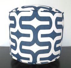 Blue round pouf ottoman 18, navy blue and white floor pouf for nursery room decor, trellis floor cushion, geometric dorm pouf chair, pouffe