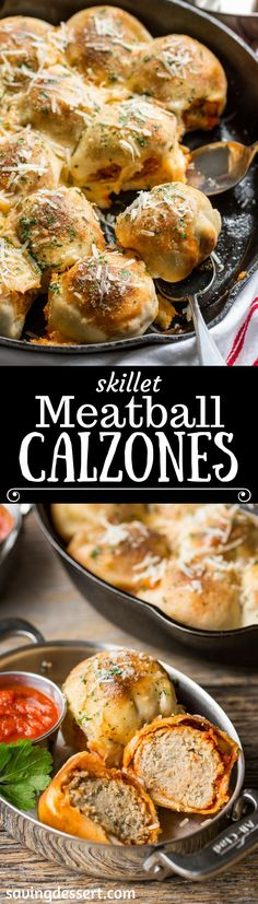 Skillet Meatball Calzones Meat Recipes, Appetizer Recipes, Dinner Recipes, Cooking Recipes, Appetizers, Meatball Recipes, Hamburger Recipes, Oven Recipes, Sauce Recipes