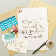 If you think our hands are full you should see our hearts (hand lettered by Teeny Letters)