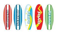 Lindos adesivos de pranchinhas de surf, diversos temas.  Personalizado com nomes a sua escolha  Adesivo em papel.    Altura : 7 cm  Largura: 2,5 cm