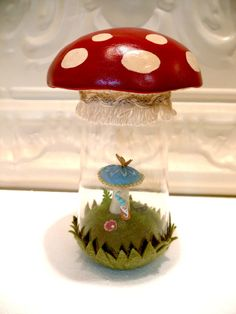 Red Amanita Mushroom Gnome Terrarium Gnome living by WorkofWhimsy Plants In Jars, Hag Stones, Glass Craft, Clay Figurine, Stone Crafts, Perfect Christmas Gifts, Paper Clay, Glass Containers, Terrariums