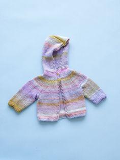 Bellflower Baby Hoodie by lionbrand: Free PDF.  #Knitting #Baby #Hoodie #lionbrand