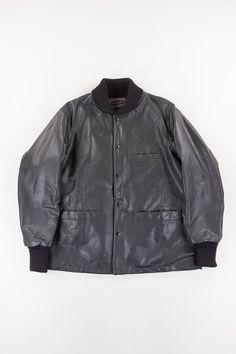 Engineered Garments Black Cowhide Sur Coat