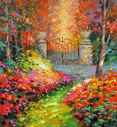 """In de herfst tuin - € 273,36 originele kunst aan de muur. Paletmes olieverfschilderij door Dmitry Spiros. GROOTTE: 32 """"x 32"""", aantal plaatsen 80 x 80 cm"""