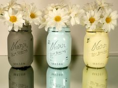 Preppy Dorm, Home or Office Decor - Painted and Distressed Shabby Chic Mason Jars - Pencil Holders. $15.00, via Etsy.