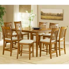 Hillsdale Bayberry/Glenmary 9-Piece Rectangle Counter Height Dining Set with Leaf-Oak - HL2000