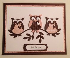 Thinking of You Card with Owls, Stampin Up Punch Card