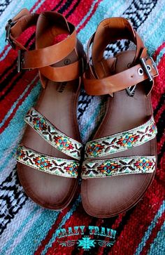 Find these adorable Santa Fe sandals by Crazy Train @ www.ranchandfamous.com.