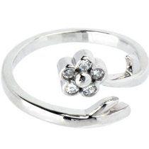 Solid 14K White Gold .05 Carat Genuine Diamond Flower Adjustable Toe Ring