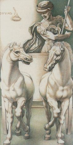 """Horse: The horse is another symbol of physicality and vitality. The horse is linked with elemental and instinctual powers. They symbolize speed of thought, speed of deed, and speed of action. This horse symbol brings further attention on aspects of motion, transportion, and """"reaching the destination"""" to the Tarot card meanings of the Chariot. {VII. The Chariot: Da Vinci Tarot}"""