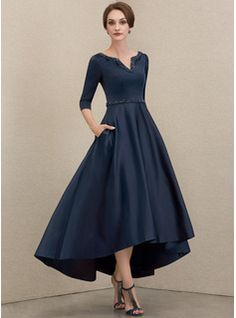 A-Line Square Neckline Asymmetrical Chiffon Mother of the Bride Dress With Appliques Lace Sequins (008235589) - JJ's House Mother Of Bride Outfits, Mother Of Groom Dresses, Bride Groom Dress, Mother Of The Bride, Mob Dresses, Fashion Dresses, Bride Dresses, Fall Dresses, Dress With Bow