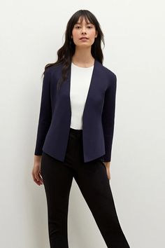 This wrinkle-resistant, comfortable knit jacket is the perfect antidote to the stuffy blazer. It blends the sharpness of a jacket with the stretch and softness of a cardigan. In other words, it's a jardigan! Skirt Pants, Dress Skirt, Team Wear, Knit Jacket, Knit Blazer, Work Pants, Suits You, Dress To Impress, Lounge Wear