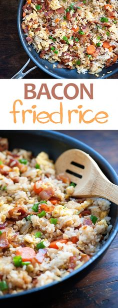 This homemade bacon fried rice is even better than take out! This homemade bacon fried rice is even better than take out! Couscous, Rice Dishes, Food Dishes, Dishes Recipes, Rice Bowls, Bacon Recipes, Cooking Recipes, Fried Rice With Bacon Recipe, Fried Rice Recipes