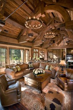 I Love Unique Home Architecture. Simply stunning architecture engineering full of charisma nature love. The works of architecture shows the harmony within. Log Cabin Homes, Log Cabins, Barn Homes, Family Room Design, Rustic Interiors, Cabin Interiors, Home Fashion, Great Rooms, Home And Living