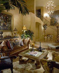 Mediterranean decor- living room by J Hettinger Interriors