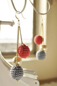 Crochet Bead Drop Earrings