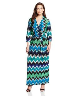 NY Collection Womens Plus-Size Printed Faux-Wrap Maxi Dress