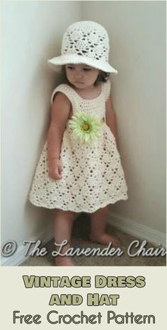 Vintage Dress and Sun Hat - Free Crochet Pattern