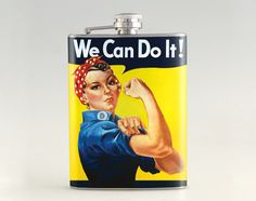 "A finely restored version of J. Howard Miller's iconic Rosie the Riveter poster. Rosie proclaims, ""We Can Do It!"" Rosie the Riveter came to represent women working the production line on the home front during WWII. World War Two"
