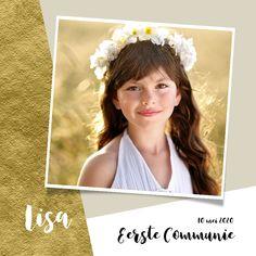 Communie bedank kaart fotoserie op goud, verkrijgbaar bij #kaartje2go voor €1,99
