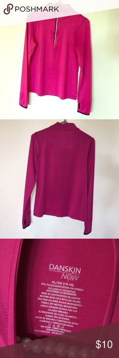 Danskin NOW athletic 1/4 zip (girls) Raspberry colored technical fabric fitness top. Trim on the 1/4 zip is reflective. No damage. Girls XL. Danskin Now Shirts & Tops