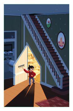 #HarryPotter et son placard sous l'escalier au 4 Privet Drive. Une illustration de George Bletsis.